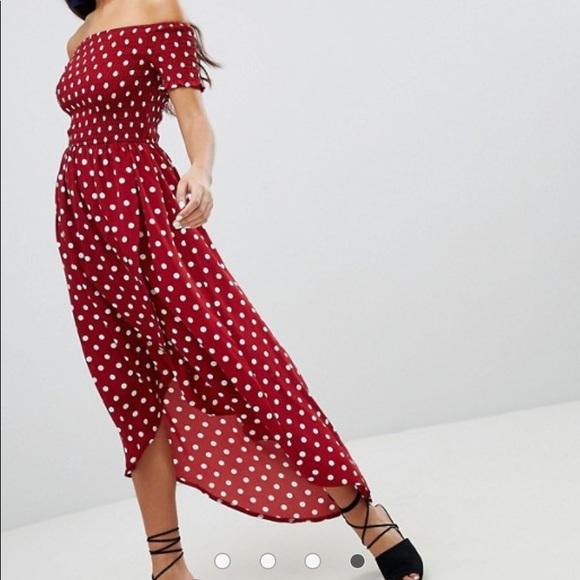 Parisian Works Dresses & Skirts - Parisian off the shoulder polka dot dress size 6